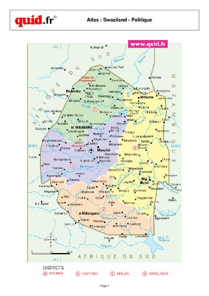 Swaziland Regional Map - Swaziland • mappery