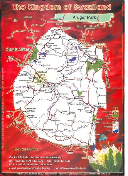 a map of swaziland. Fullsize Swaziland Tourist Map