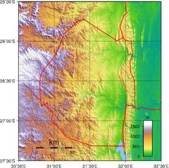 Swaziland topography Map