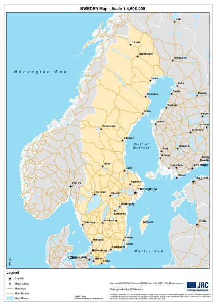 Map of Sweden showing major cities and roads. Created 8/31/2007
