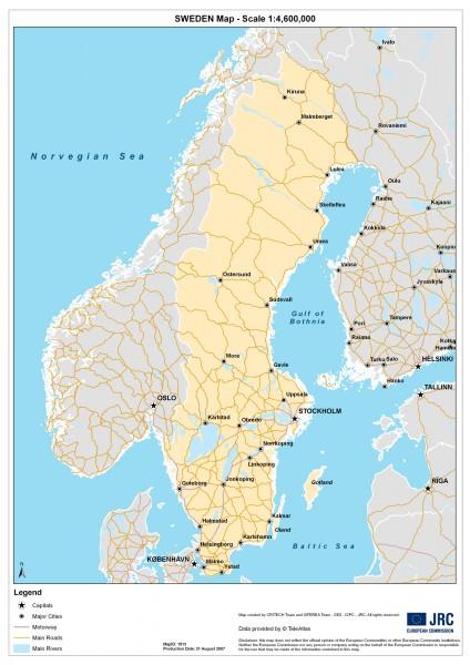 Sweden Physical Map Sweden Mappery - Sweden map physical