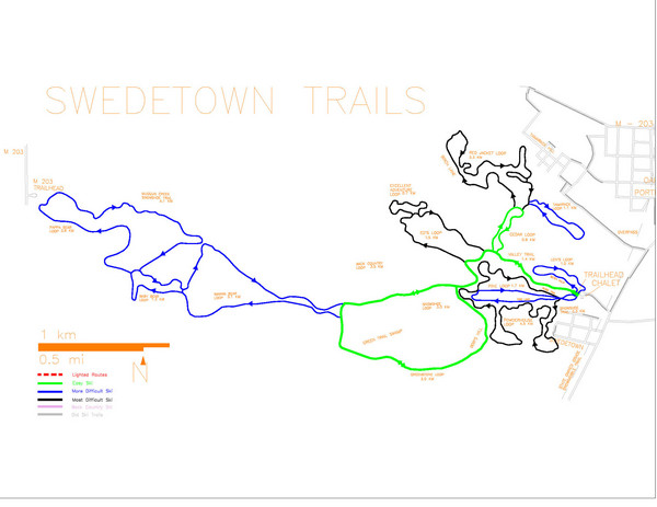 Swedetown Nordic Trail Map