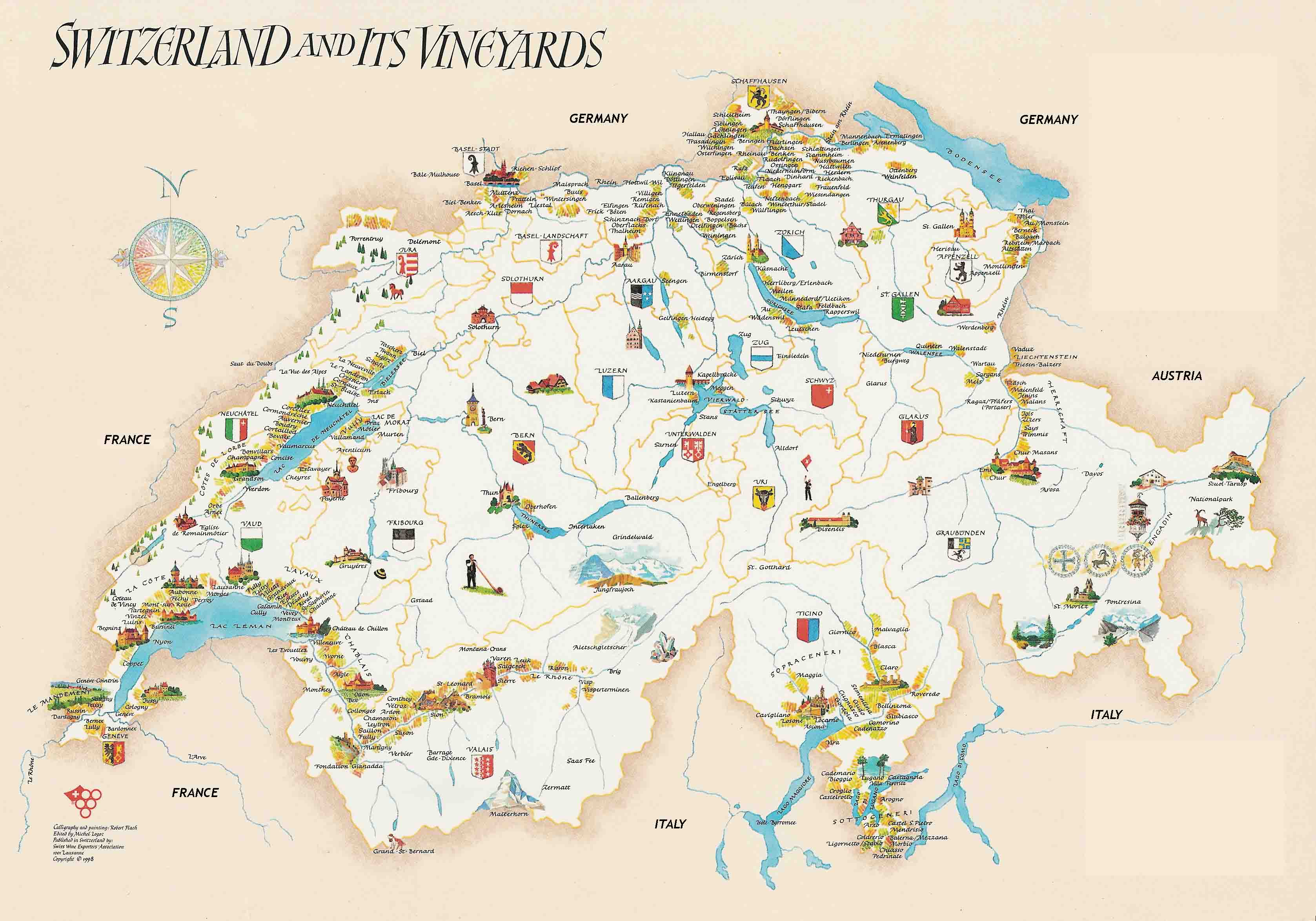 Switzerland Vineyards Map Switzerland mappery