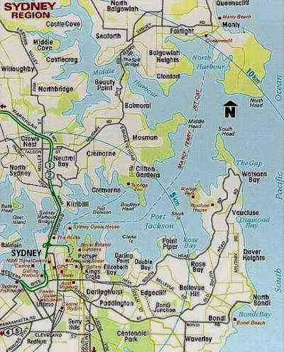 Sydney Australia Region Tourist Map Sydney Australia mappery
