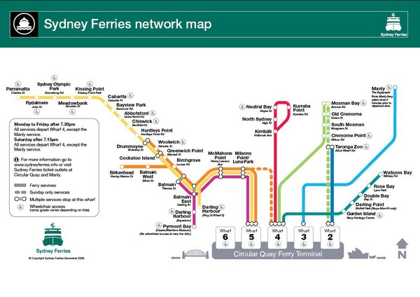 Sydney Ferries Map