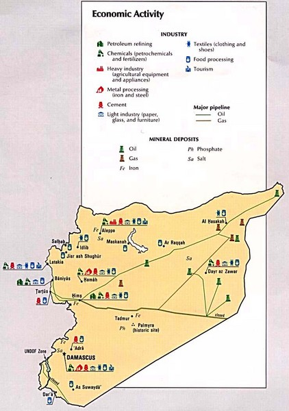 Syria tourist map syria mappery syria economic activity map sciox Gallery
