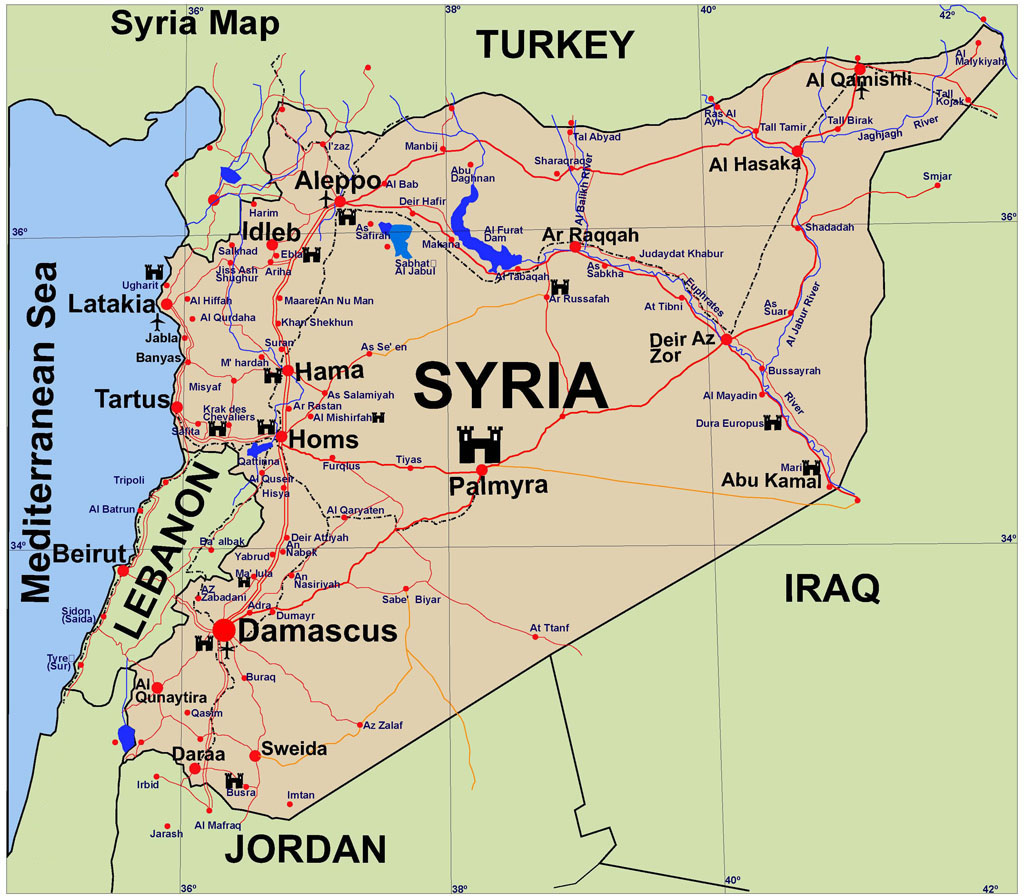 Syria Guide Map Syria mappery