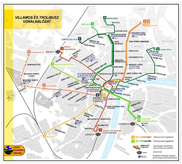 Szeged Public Transportation Map (Hungarian)