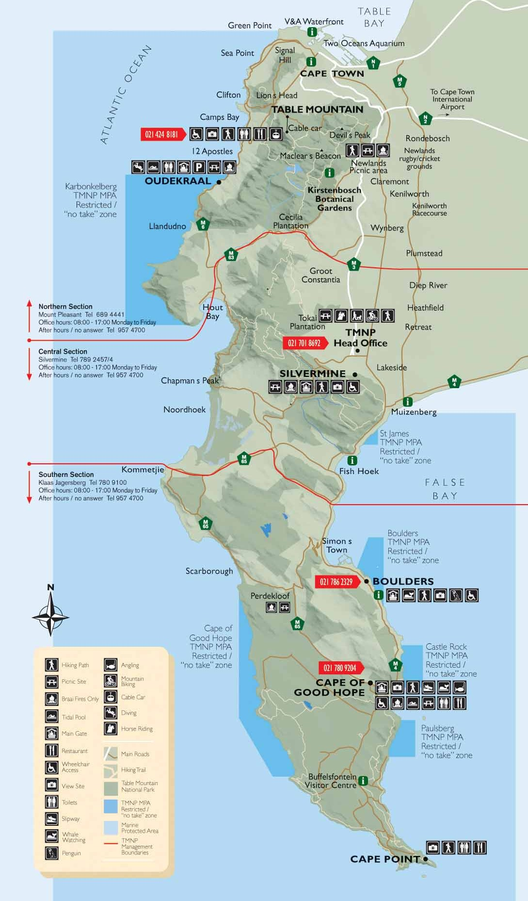 Table Mountain National Park Recreational Map Capetown South