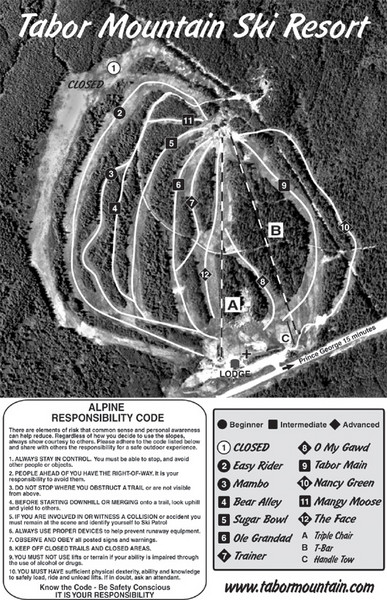 Tabor Mountain 2005–08 Tabor Downhill Map