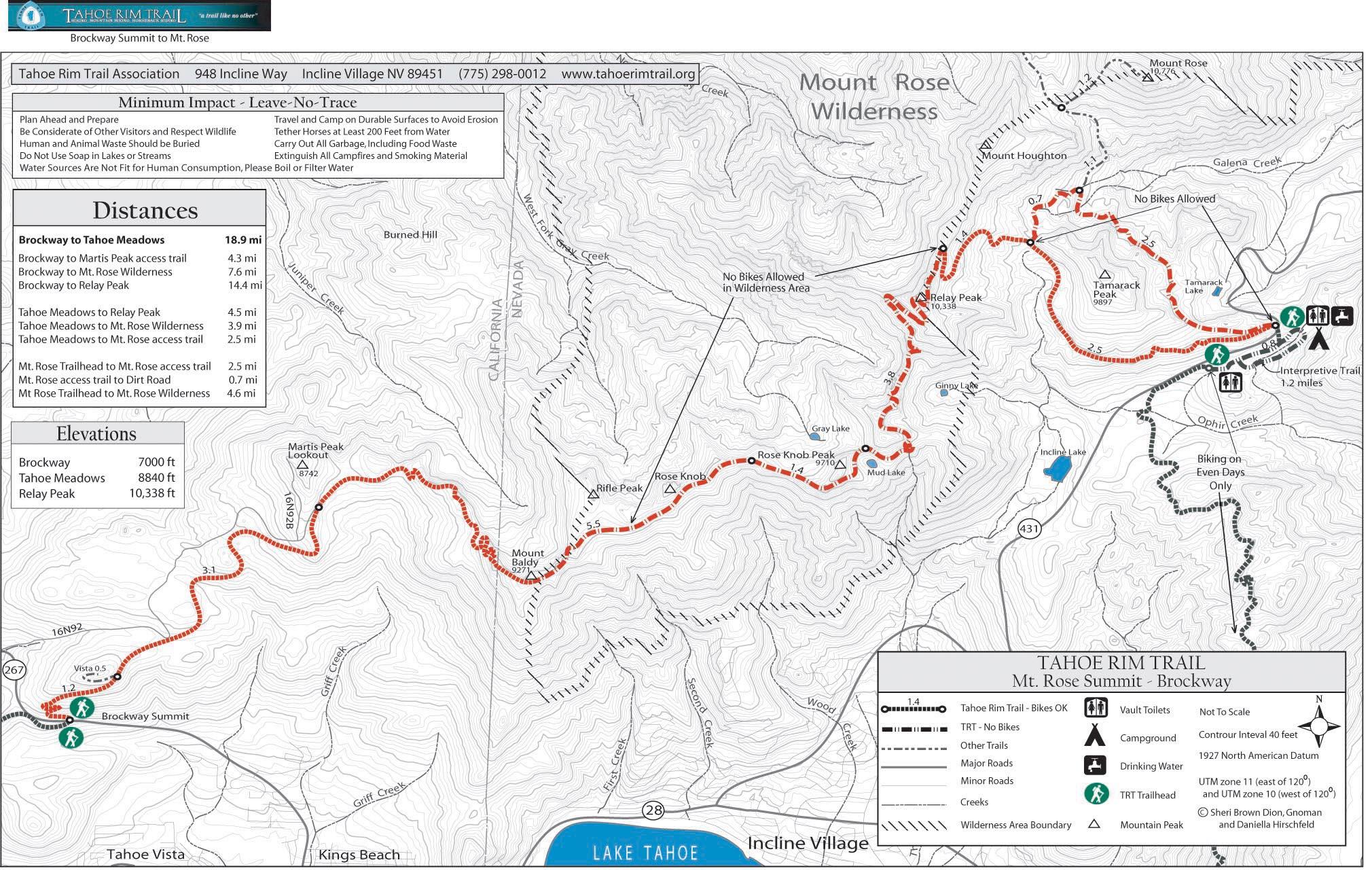 Tahoe Rim Trail Brockway Summit to Tahoe Meadows Lake Tahoe ...
