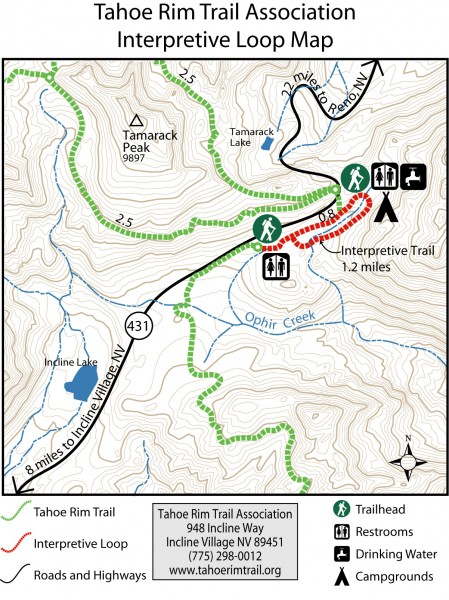 Tahoe Rim Trail: Interpretive Loop, Lake Tahoe, California Map