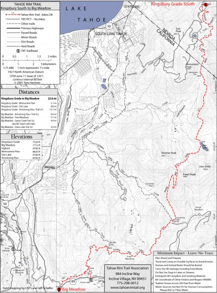 Tahoe Rim Trail: Kingsbury South to Big Meadows Map