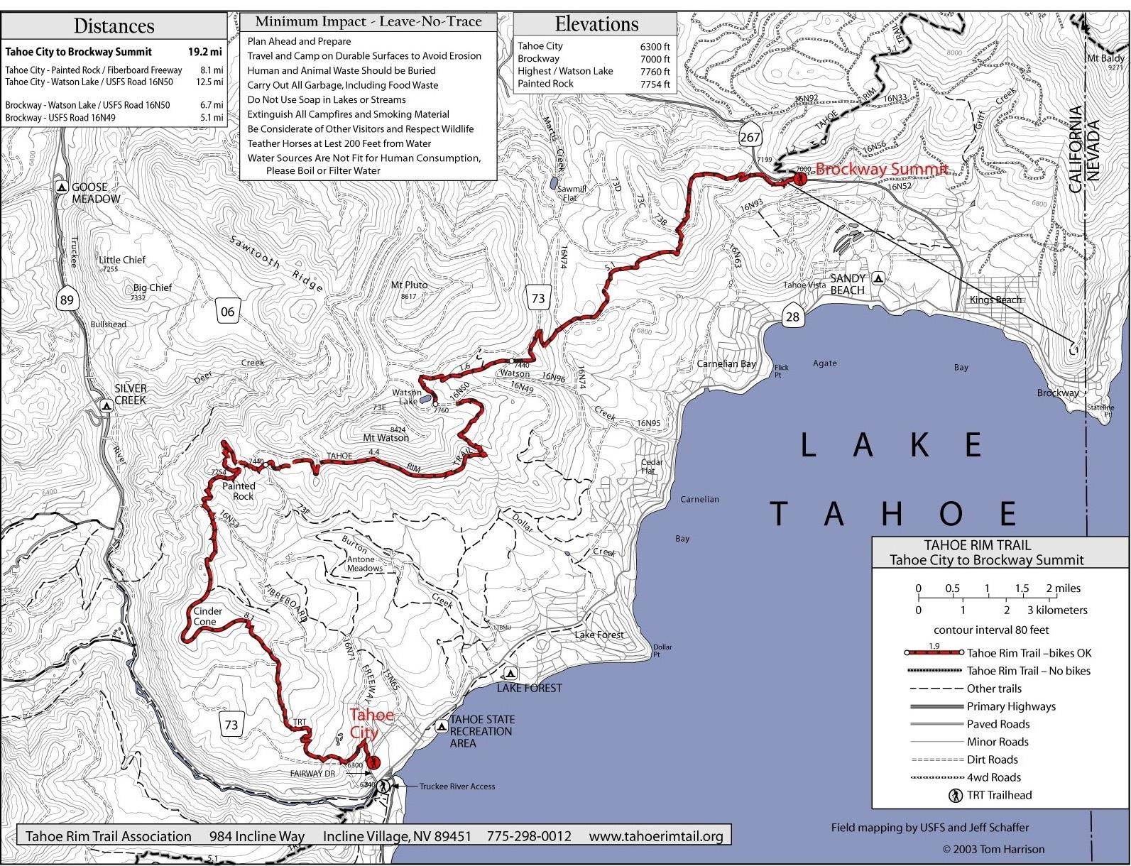 Tahoe Rim Trail Map Tahoe CA Mappery - North lake tahoe map