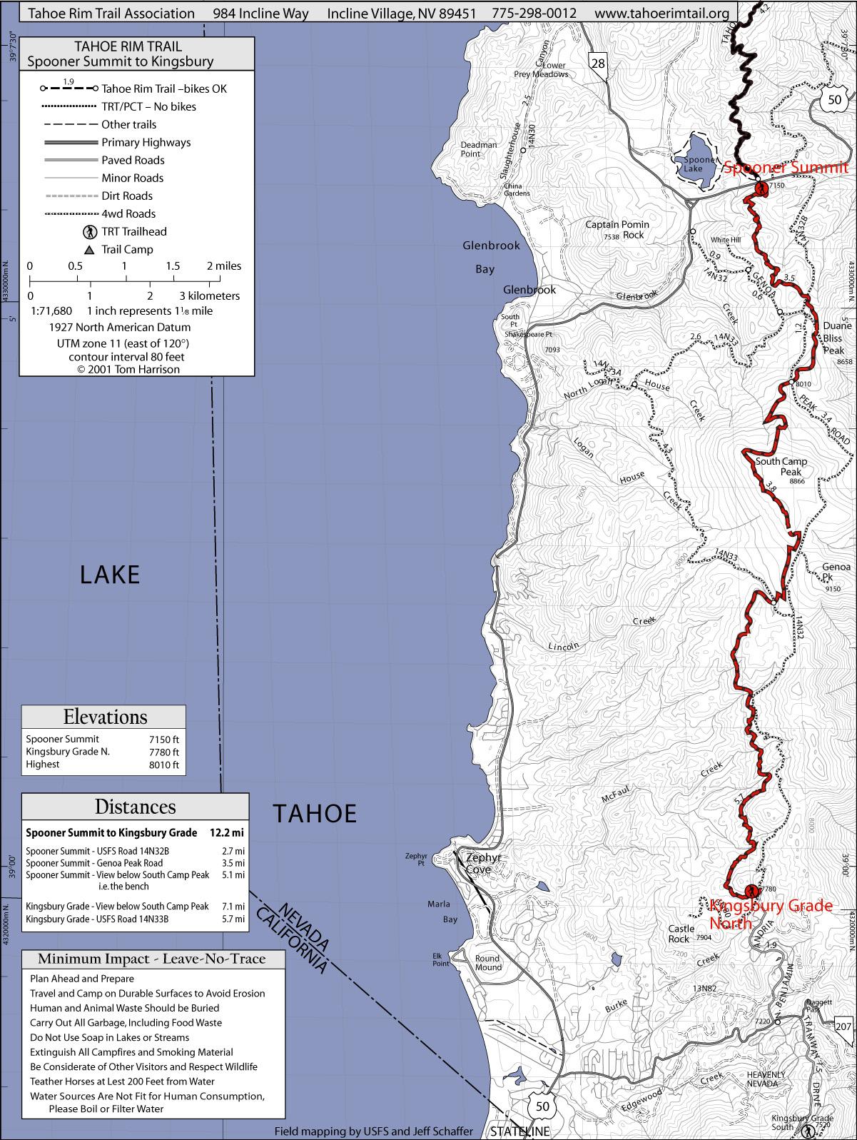 Tahoe Rim Trail Spooner Summit To Kingsbury North Lake Tahoe - North lake tahoe map
