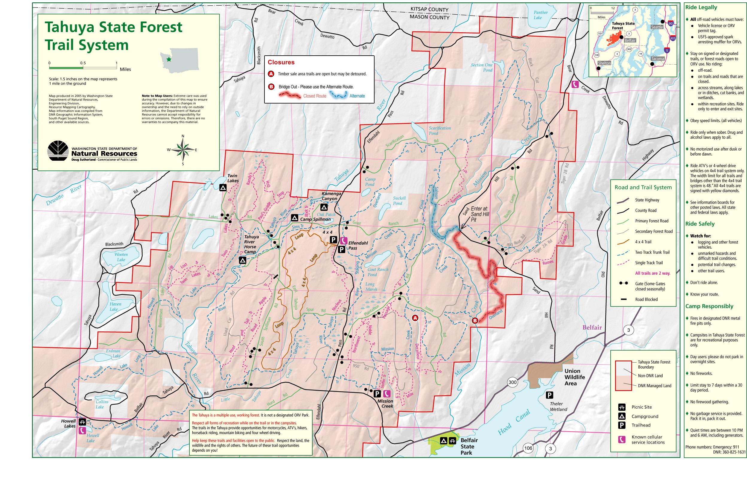 Tahuya State Forest Trail Map - Belfair Washington • mappery on