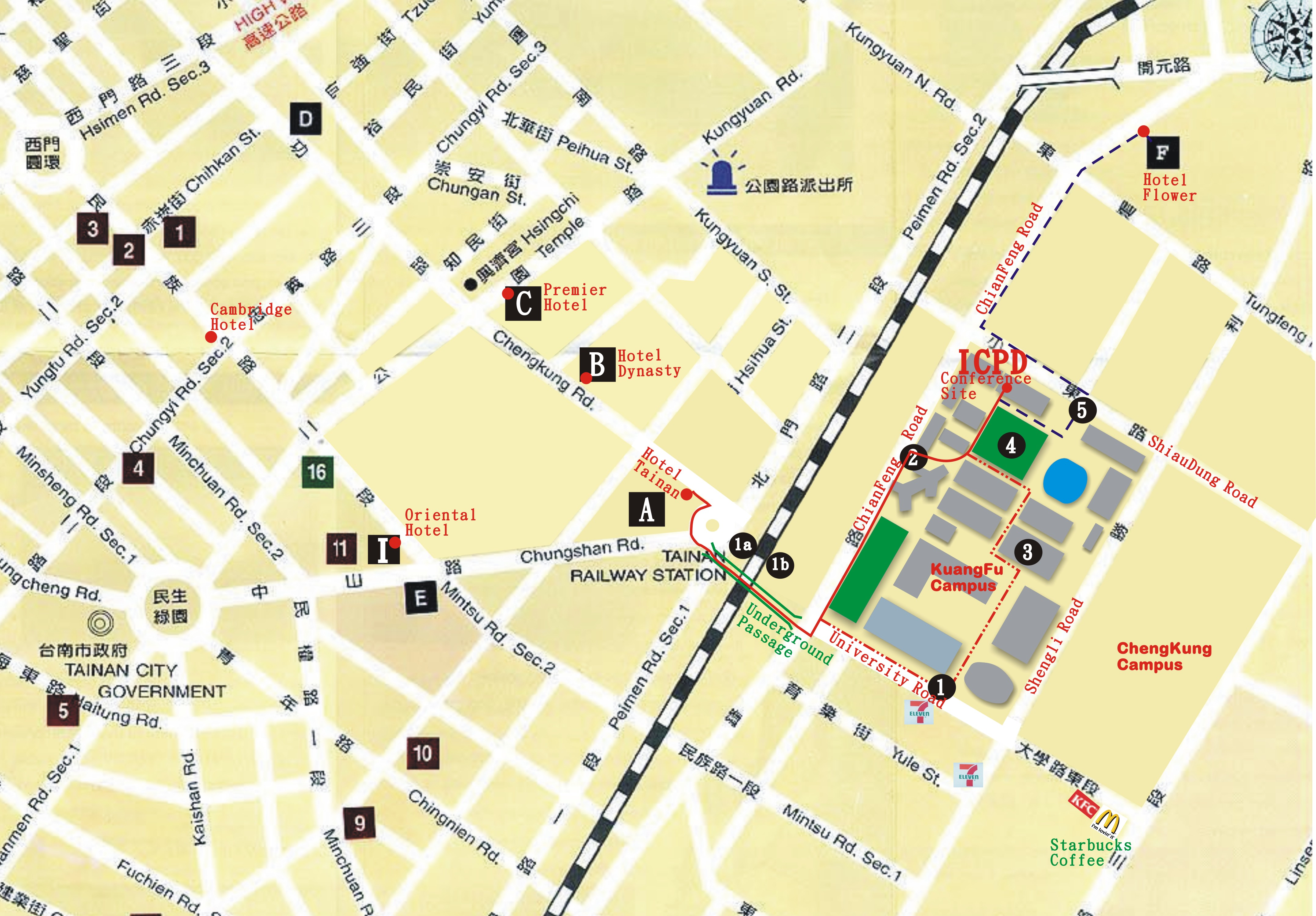 Tainan City Hotel Map Tainan City mappery