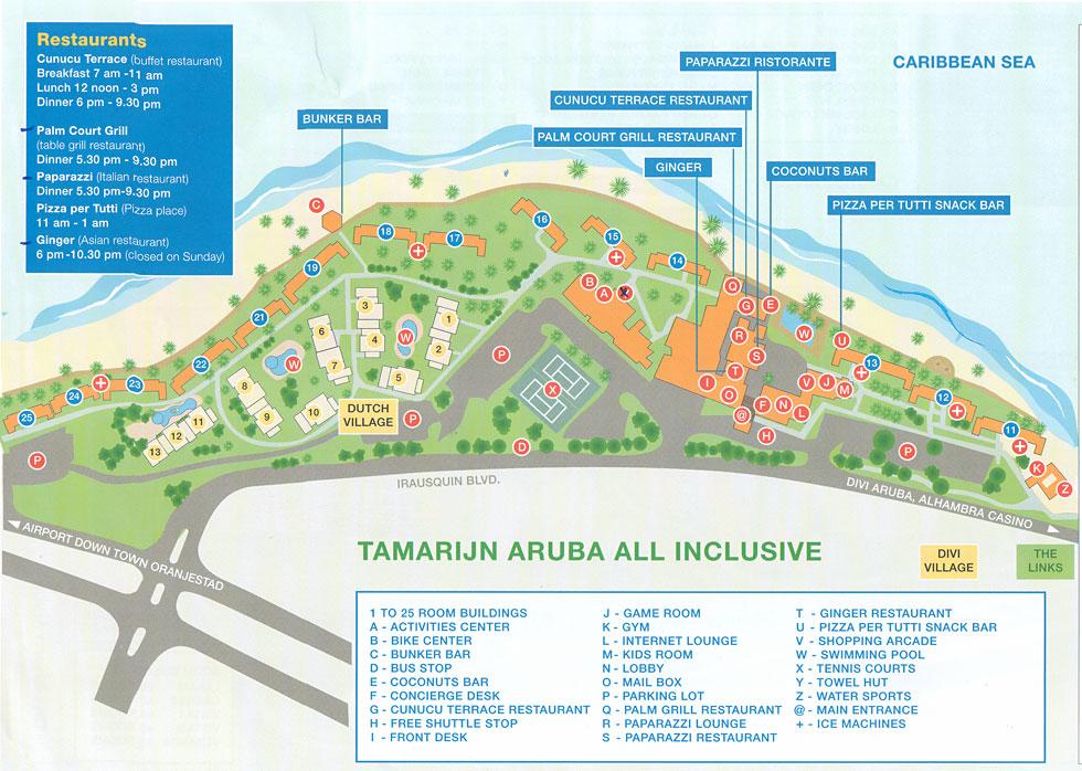 Tamarijn Aruba Resort Map Aruba Mappery
