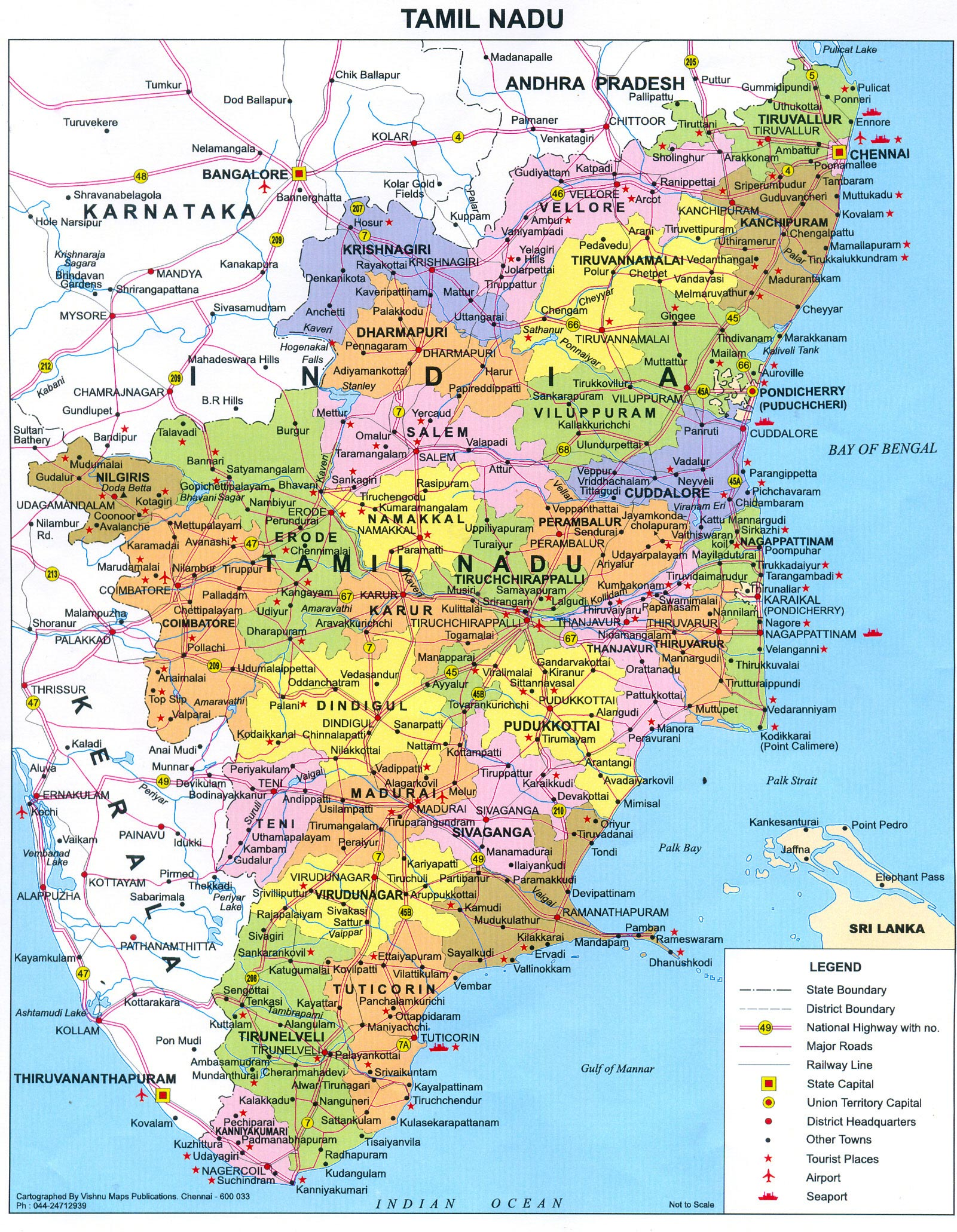 Tamil Nadu India  city pictures gallery : Tamil Nadu Political Map Tamil Nadu India • mappery