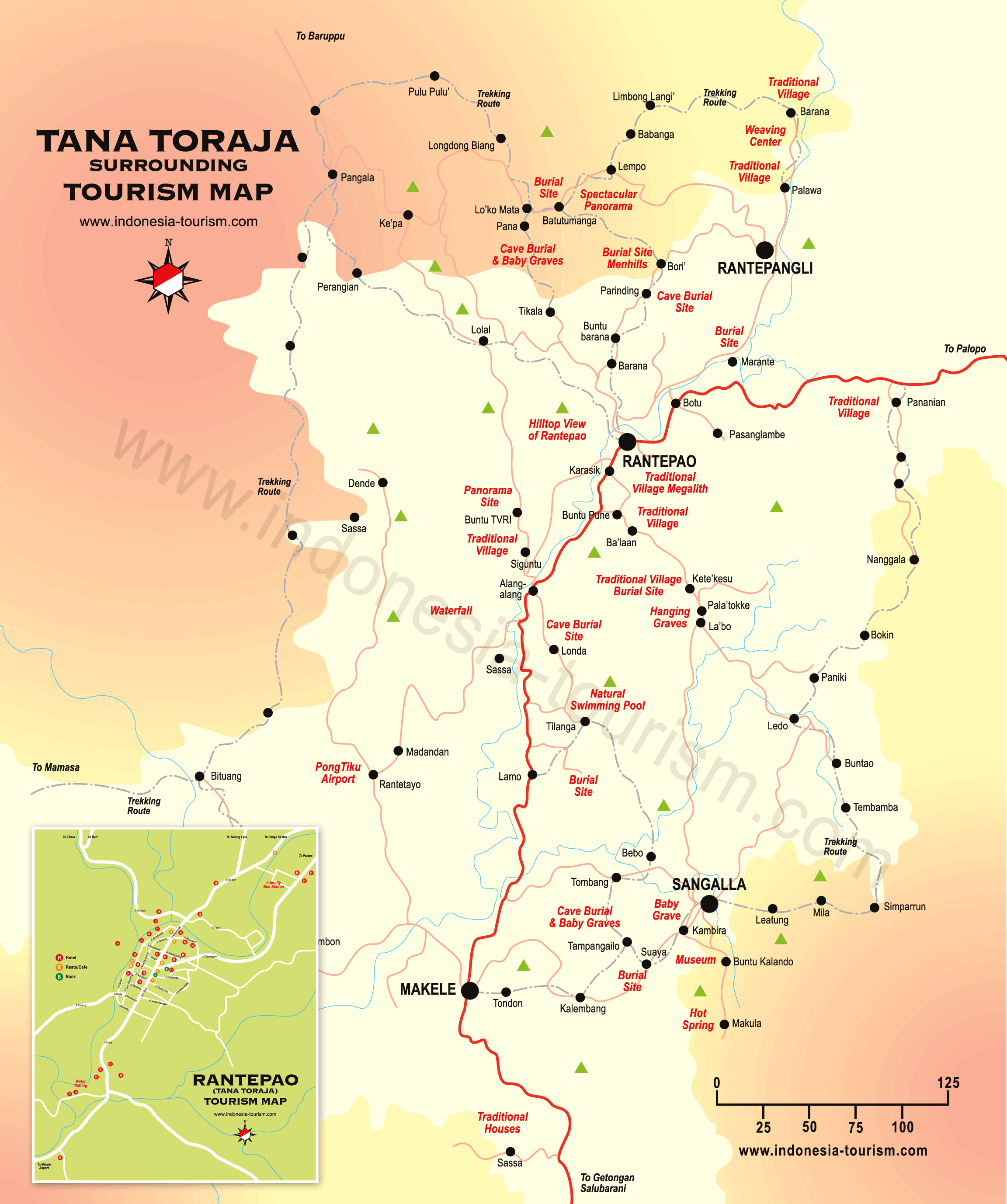 Tana Toraja Indonesia  city photos : Tana Toraja Tourist Map See map details From indonesia tourism.com