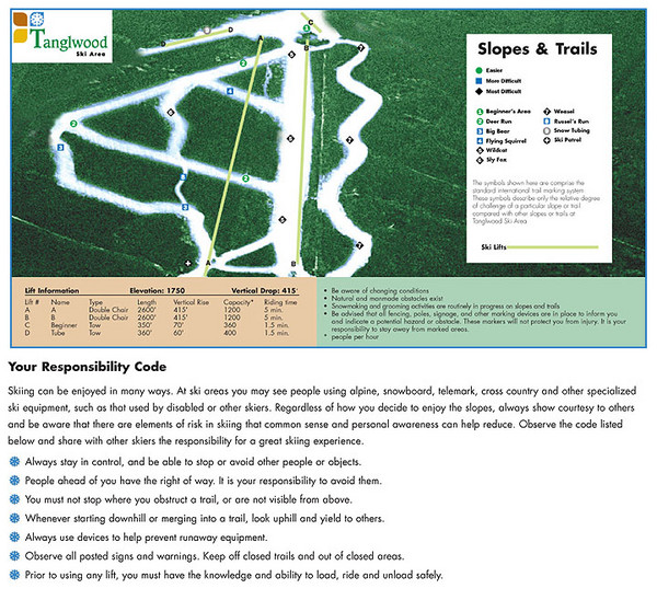 Tanglwood Ski Area Ski Trail Map