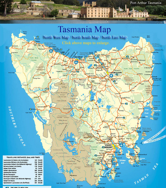 Detailed map of island of Tasmania, Australia. Shows National Parks.