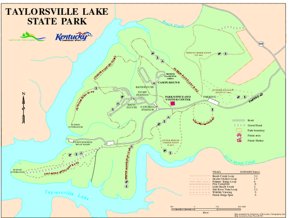 Taylorsville Lake State Park Map