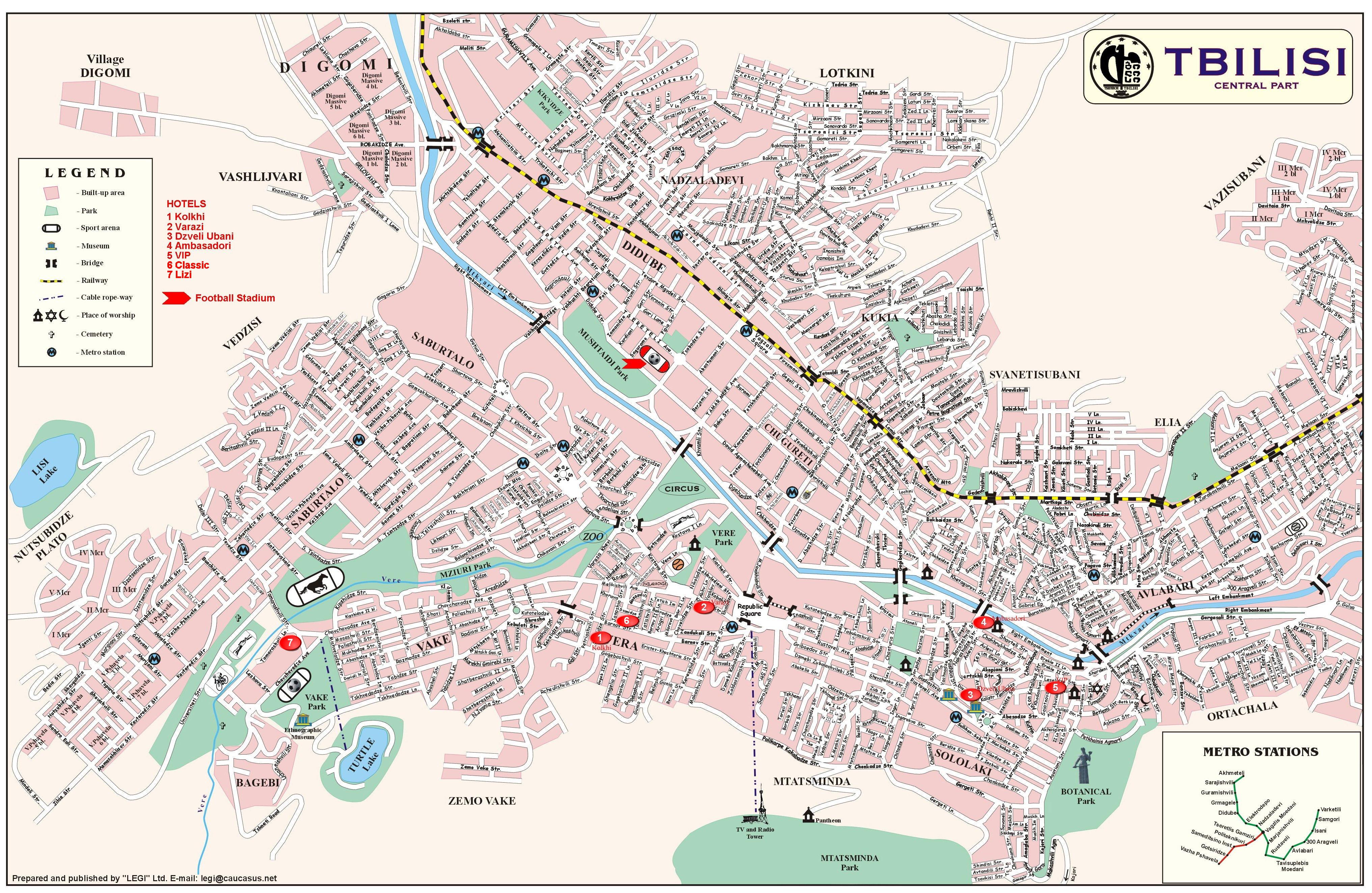 Tbilisi Tourist Map  Tbilisi Georgia  Mappery