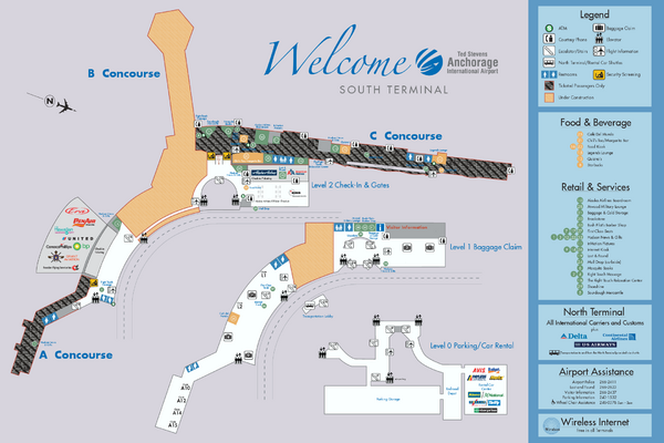Ted Stevens Anchorage International Airport - South Terminal Map ...