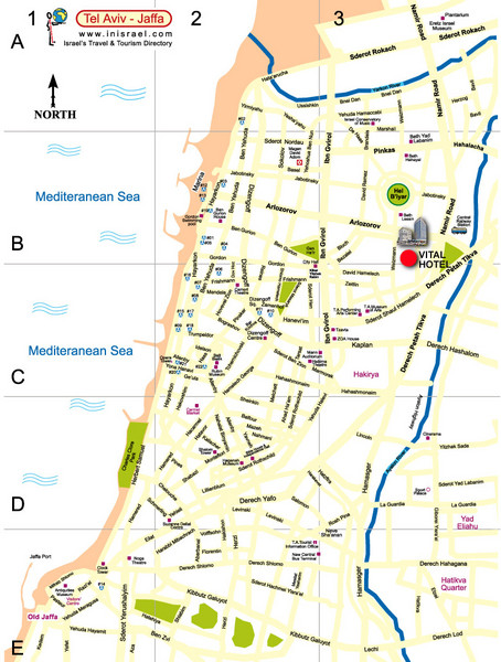 Tel Aviv City Map Tel Aviv Israel mappery