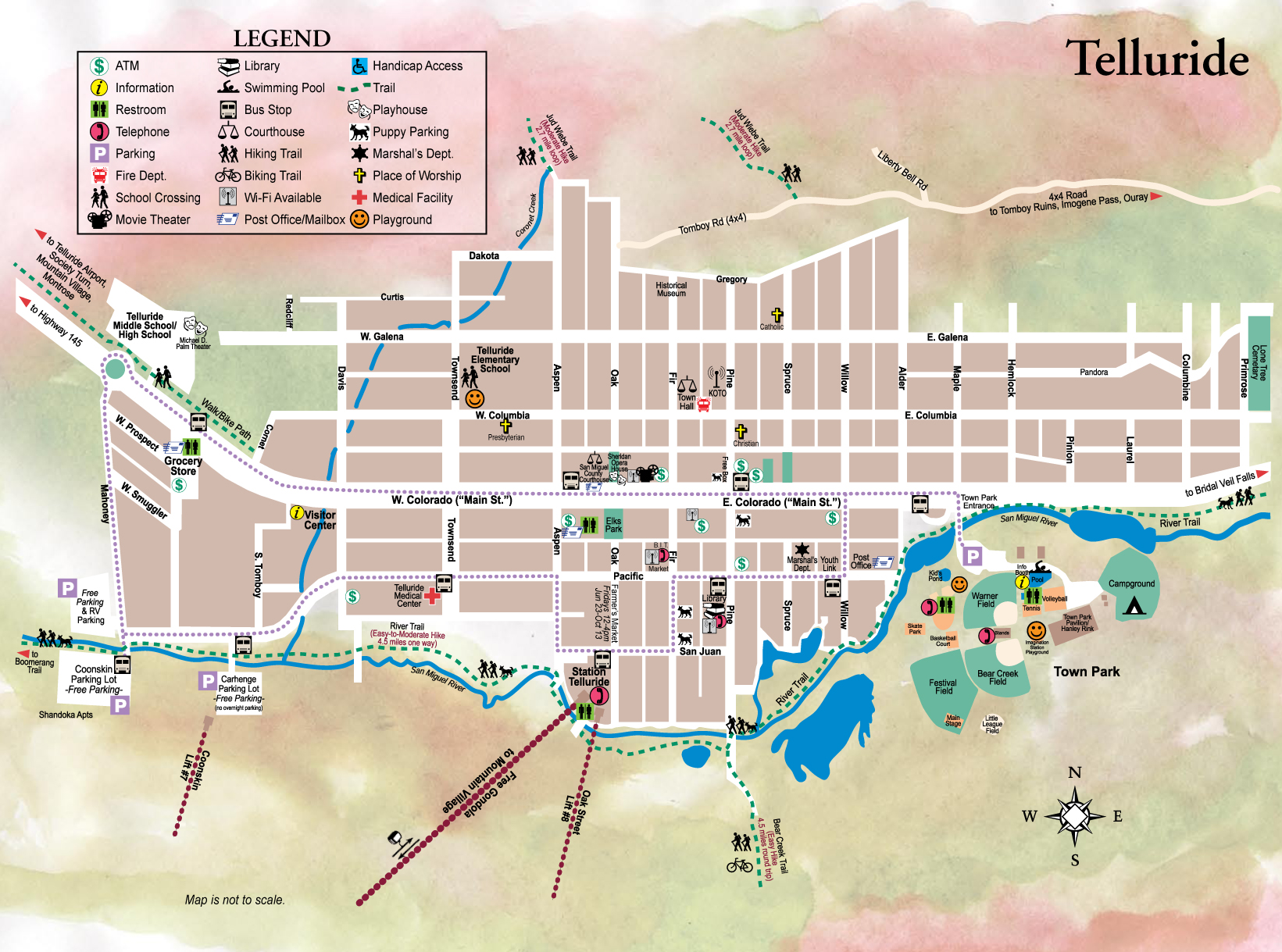 . telluride town map  telluride co • mappery