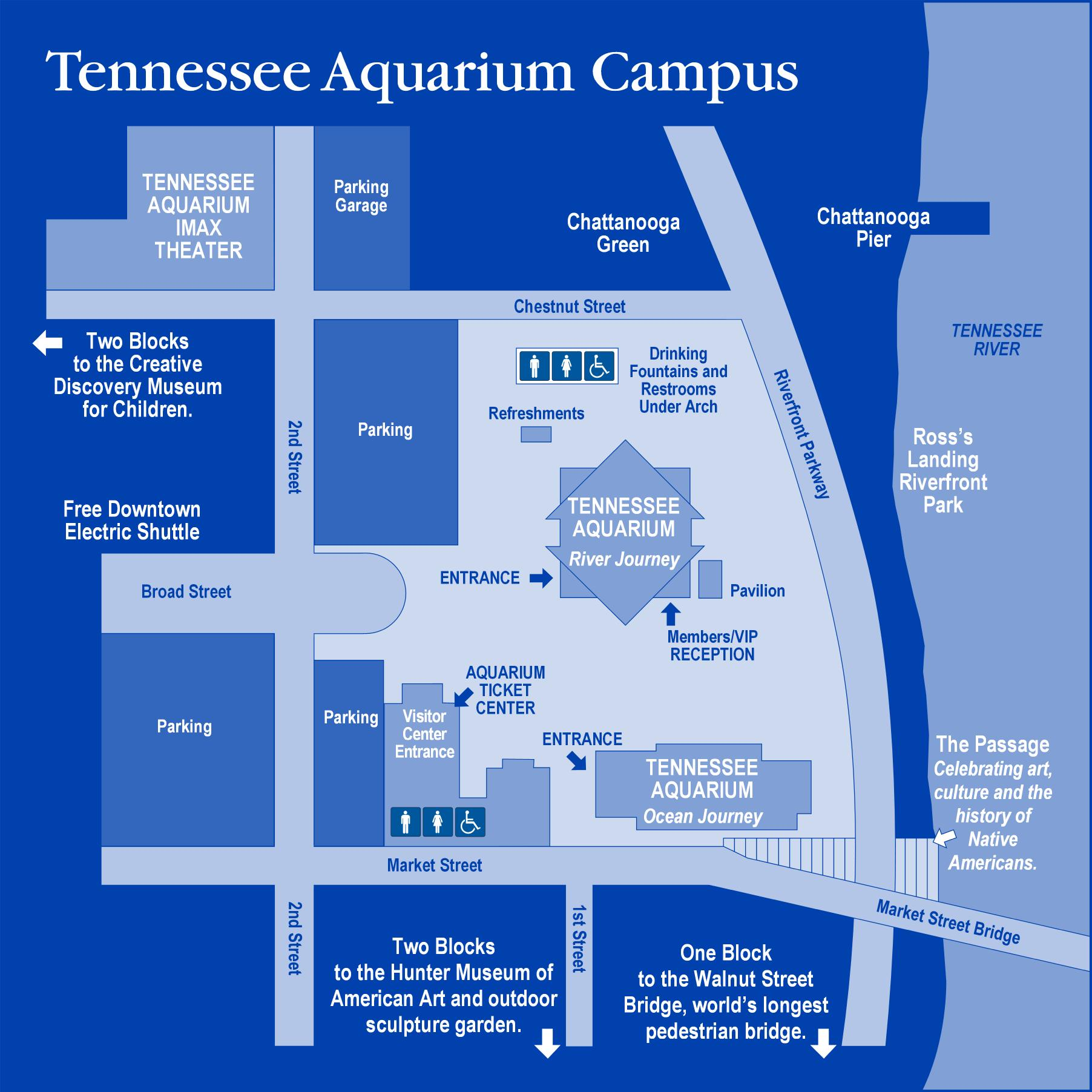 Tennessee Aquarium Campus Map Chatanooga Tennessee USA mappery
