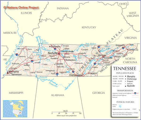Tennessee Tourist Map Tennessee Mappery