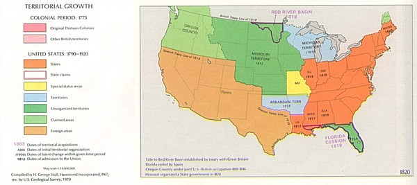 Territorial Expansion in Eastern United States   1820 Historical