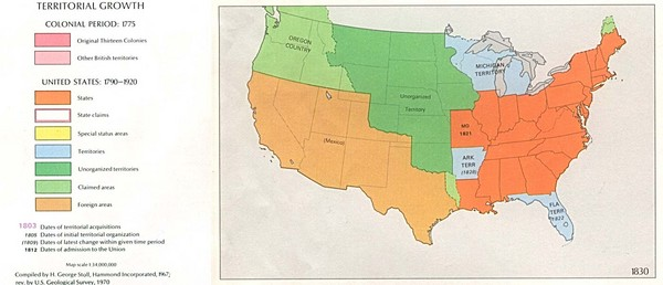 Territorial Expansion in Eastern United States   1830 Historical