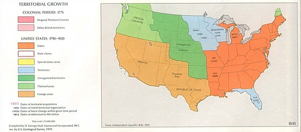 Territorial Expansion in Eastern United States - 1840 Historical Map