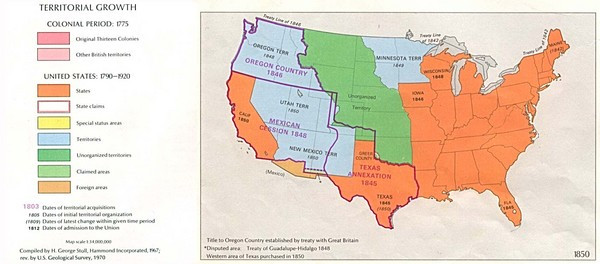 Territorial Expansion in Eastern United States - 1850 Historical Map