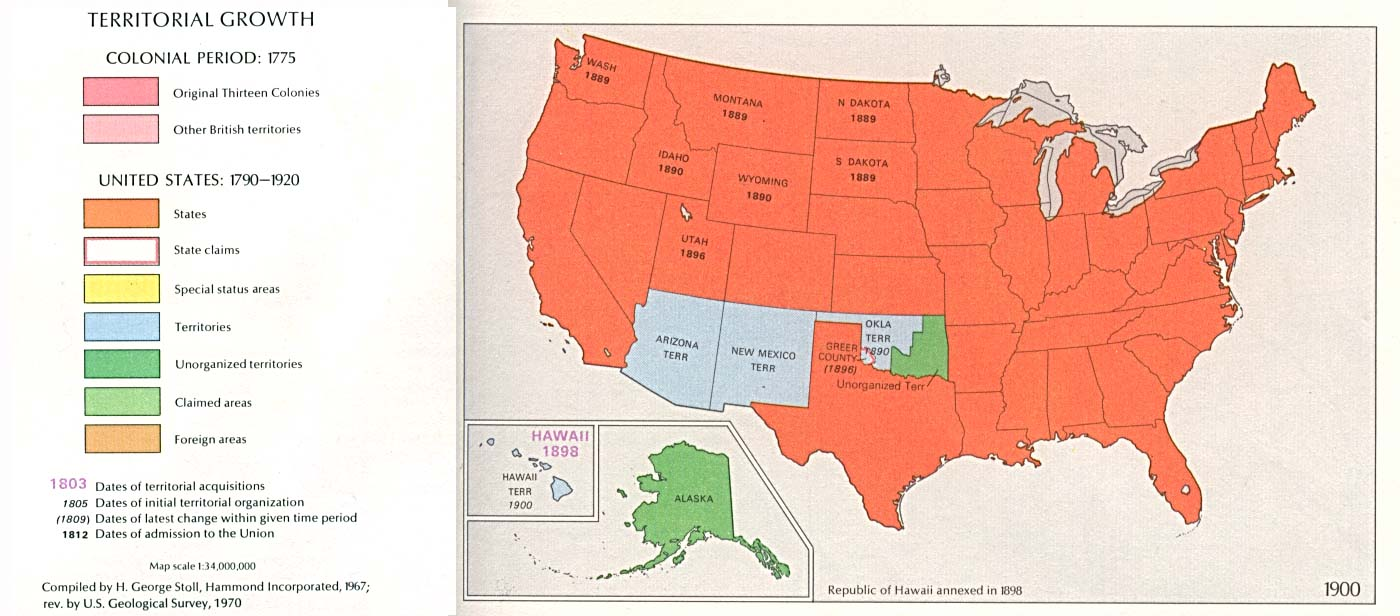 Territorial Expansion In Eastern United States Historical - Us map in 1900
