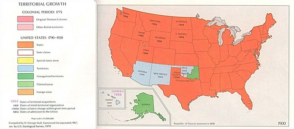 Territorial Expansion in Eastern United States - 1900 Historical Map