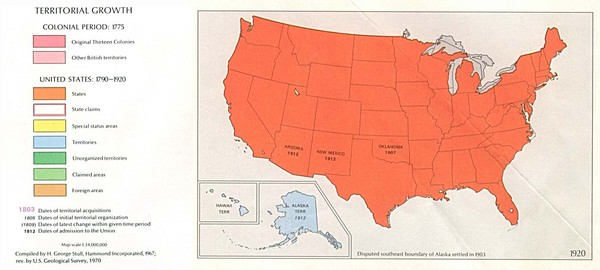 Us Map 1920.Territorial Expansion In United States 1920 Historical Map