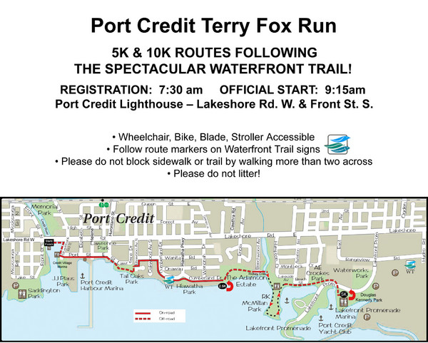 Terry Fox Run Trail Map - Port Credit ON Canada • mappery on laura secord map, fred hutchinson map, samuel de champlain map, mother teresa map,