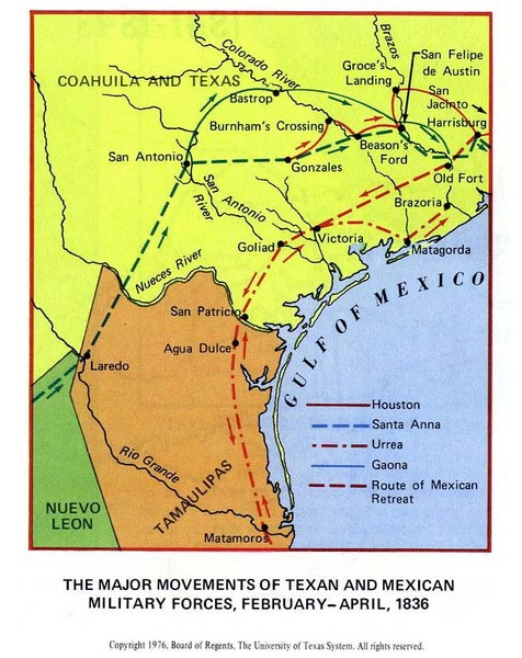 Texan and Mexican Military Forces in Texas 1836 Map