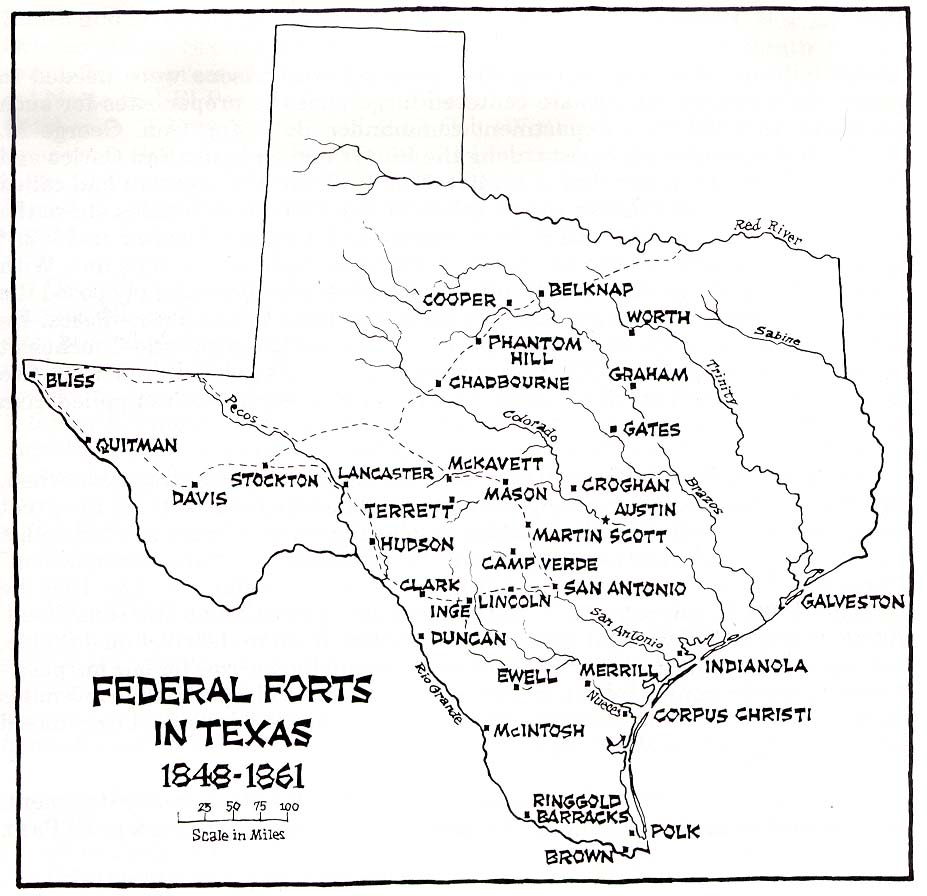 Texas Historical Forts map Texas mappery