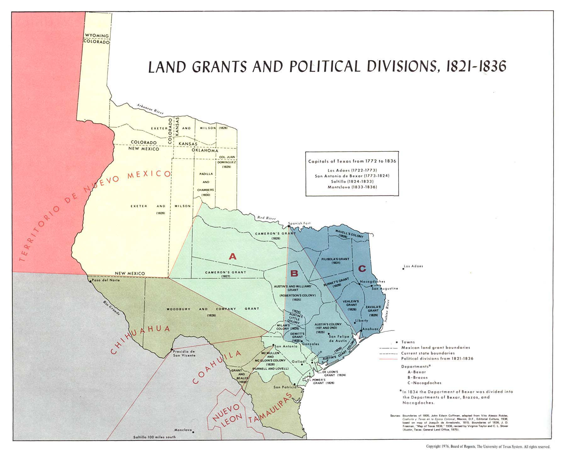 Texas Land Grants and Political Divisions 18211836 Map Texas
