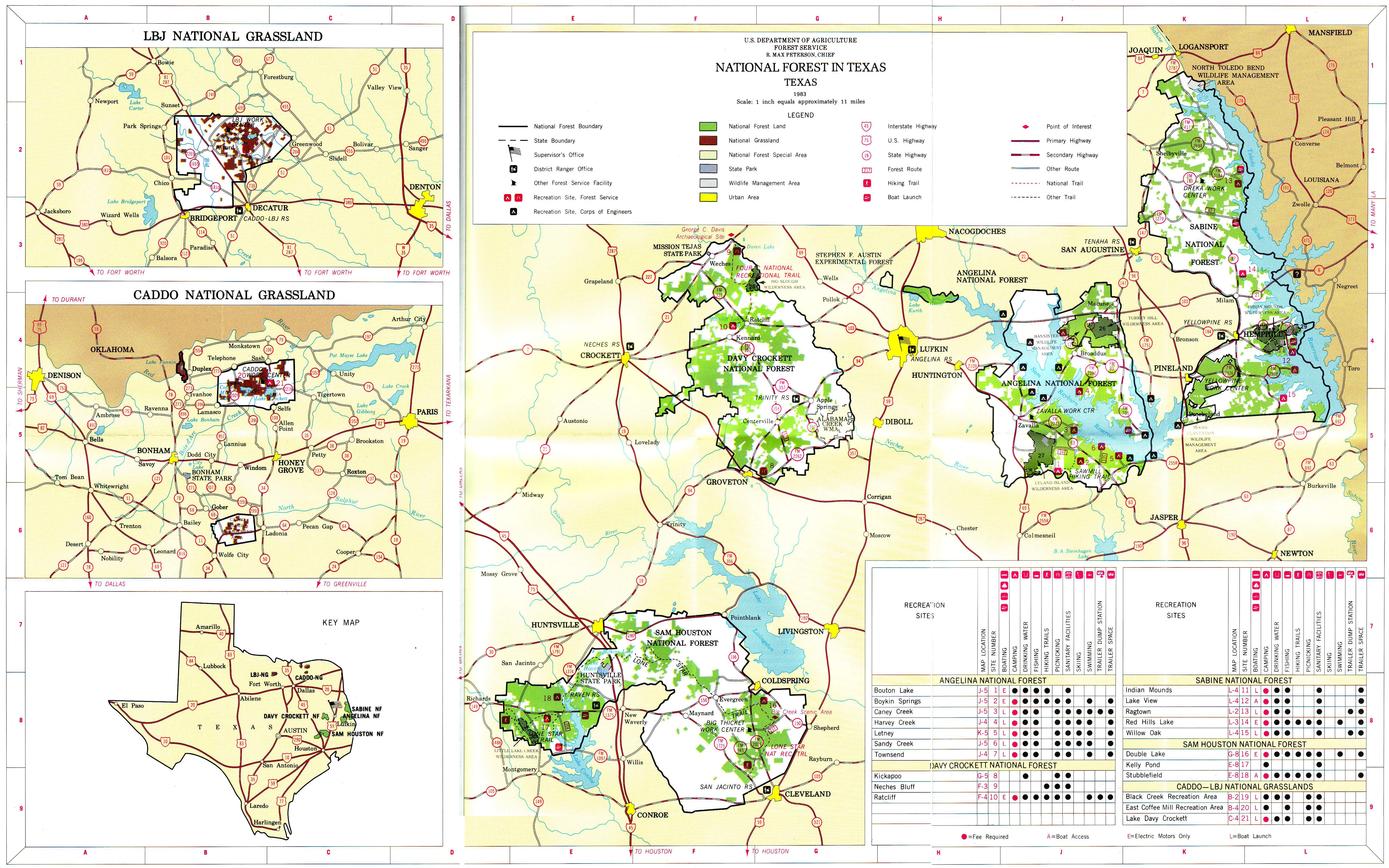 Texas National Forests and Grasslands Map - Paint Rock Texas • mappery