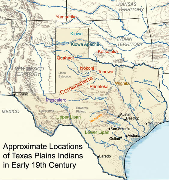 Texas Plains Indians - 19th Century - Map
