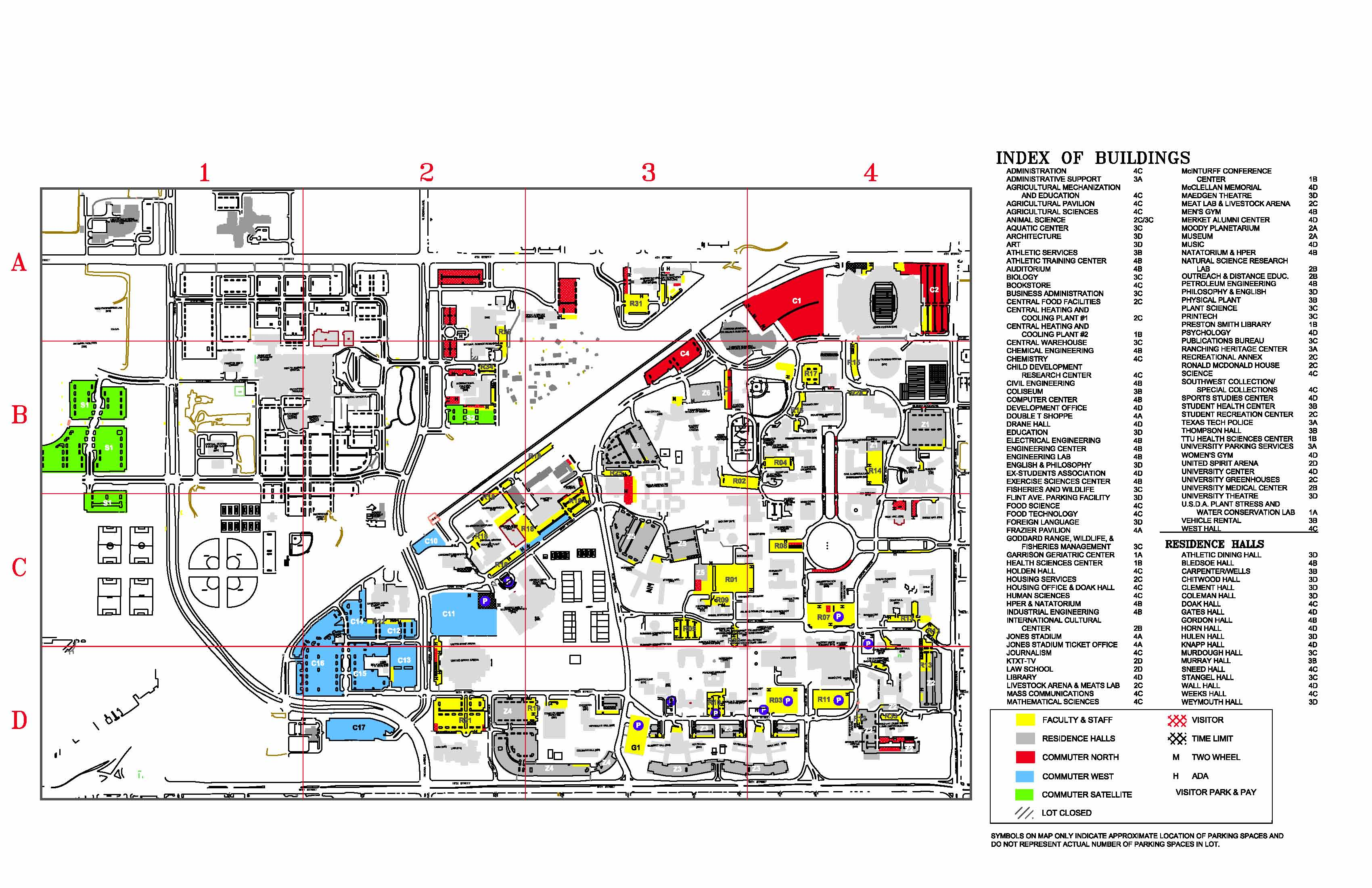 Texas Tech University Parking- Visitor Map - Lubbock Texas ...