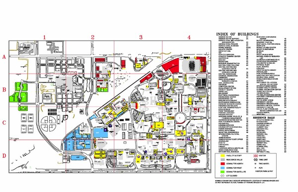 Texas Tech University Parking Visitor Map Lubbock Texas Usa