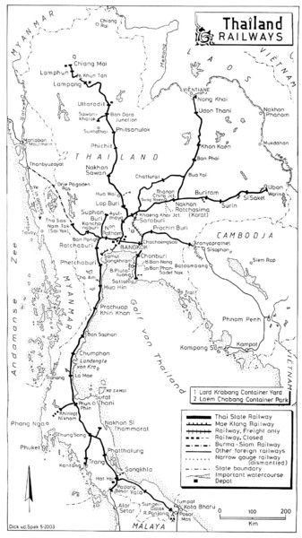 Thailand Railroad Map