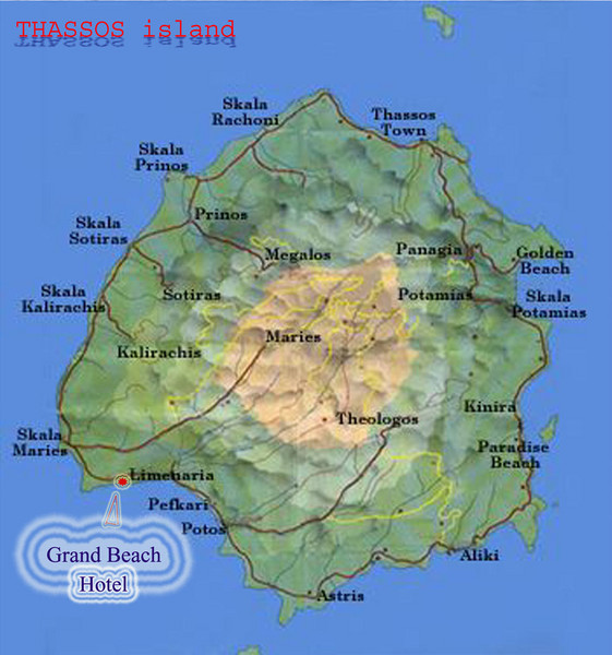 Thassos Island, Greece Tourist Map